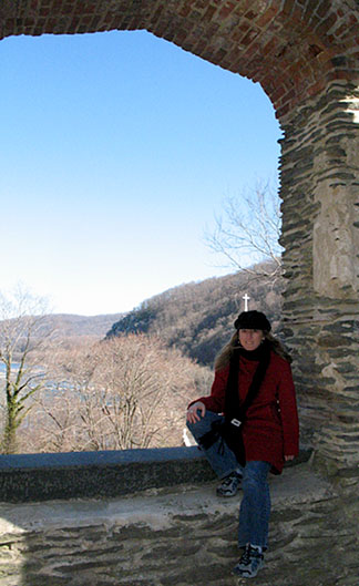 Tara in old church archway in Harpers Ferry WV
